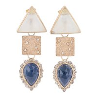 New Nina Nguyen Dangle Earrings 18k Gold Diamond Sapphire Moonstone Statement