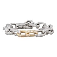 1ctw Diamond 2-Toned Cable Chain Bracelet Platinum 18k Yellow Gold 8""