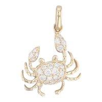 New Diamond Crab Pendant 14k Yellow Gold Nautical Jewelry