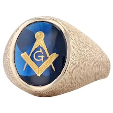 Masonic Square Compass Signet Ring 10k Gold Synthetic Spinel Sz 9.75 Blue Lodge