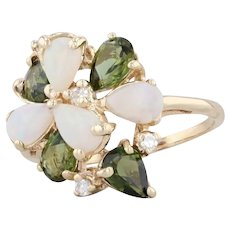 Green Tourmaline White Opal Diamond Cluster Ring 14k Yellow Gold Sz 8 Cocktail