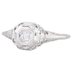 Art Deco Diamond Engagement Ring 18k White Gold Filigree Size 8.5 Solitaire