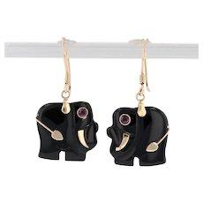 Onyx Elephant Dangle Earrings 14k Gold Pierced Hook Posts Synthetic Ruby Eyes