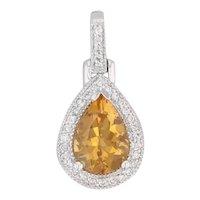 New 2.02ctw Citrine Diamond Halo Teardrop Pendant 14k Gold November Birthstone