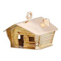 Soumi Finland Souvenir Charm 14k Yellow Gold 3D Log Cabin Keepsake
