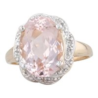 6.02ctw Morganite Diamond Halo Ring 14k Yellow Gold Size 9 Oval Solitaire