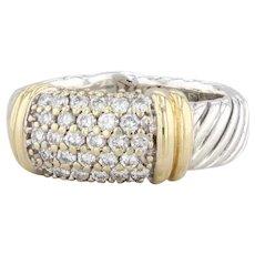 David Yurman 0.55ctw Pave Diamond Metro Ring Sterling Silver 18k Gold Size 6