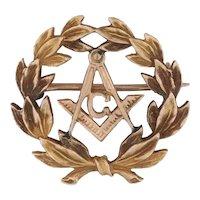 Antique Masonic Pin 10k Yellow Gold Blue Lodge Square Compass Wreath