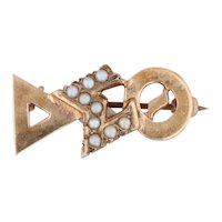 Delta Sigma Theta Badge 10k Gold Pearls DST Sorority Greek Letter Pin