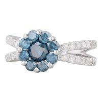 1.18ctw Blue Diamond Flower Ring 14k White Gold Size 6.25 White Diamonds