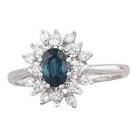 0.88ctw Blue Sapphire White Diamond Halo Ring 14k White Gold Sz 6.75 Engagement