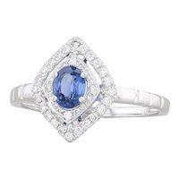 New 0.65ctw Blue Sapphire Diamond Halo Ring 14k White Gold Size 6.75 Engagement