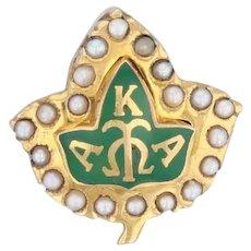 Alpha Kappa Alpha Badge 10k Gold Pearls Sorority Leaf Pin