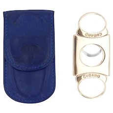 Cubano Cigar Cutter Duhill Case 14k Gold Stainless Steel Vintage Tobacco
