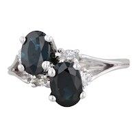 Vintage 2.34ctw Blue Sapphire Diamond Bypass Ring 14k White Gold Size 6.25