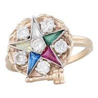 Order Eastern Star Past Matron Ring 10k Gold Sz 6.75 Diamond Synthetic Gemstones