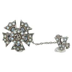 Sigma Nu Badge - 14k White Gold Pearls Garnet Serpent Fraternity Pin Vintage