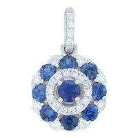 New .63 ctw Sapphire & Diamond Drop Pendant - 14k White Gold Halo Cluster Small