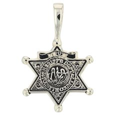 Sheriff's Badge Star Pendant - 10k Yellow Gold Forsyth County NC Replica