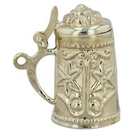 Beer Stein Charm - 18k Yellow Gold Floral Hand Engraved Opens 3D