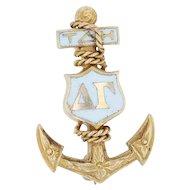 Delta Gamma Badge - 14k Yellow Gold Greek Anchor 1923 Sorority Pin