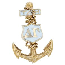 Delta Gamma Badge - 14k Yellow Gold Greek Anchor 1923 Sorority Pin