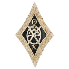 Rare Theta Chi Badge - 14k Gold Scroll Border Diamond Shape Fraternity Snake Pin