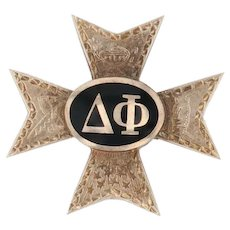 Delta Phi Badge - 10k Yellow Gold Fraternity Cross Pin Vintage 1947