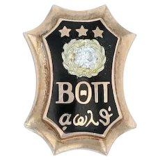 Beta Theta Pi Badge - 10k Yellow Gold Diamond Greek Fraternity Pin