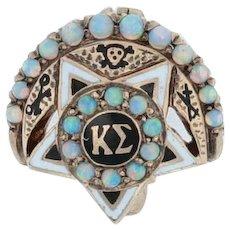 Kappa Sigma Badge - 10k Gold Opals Mini Moon Star Fraternity Pin Vintage Greek