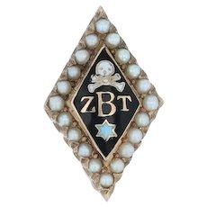 Zeta Beta Tau Badge - 10k Yellow Gold Pearls Skull Star ZBT Greek Fraternity Pin