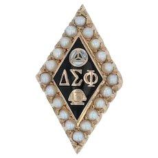 Delta Sigma Phi Badge - 10k Gold Pearls Delta Sig Fraternity Pin Greek Society
