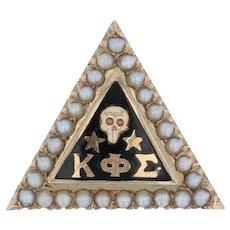 Kappa Phi Sigma Badge - 10k Gold Pearls Skull Greek Fraternity Sorority Pin