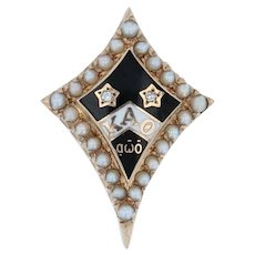 Kappa Alpha Theta Badge - 10k Gold Diamonds Pearls Vintage Sorority Pin