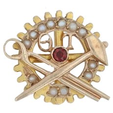 Theta Tau Badge - 10k Gold Pearls Garnets Engineering Fraternity Pin