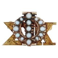 Phi Sigma Kappa Badge - Phi Sig PSK 10k Gold Pearls Vintage Greek Fraternity Pin