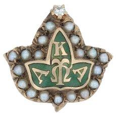 Alpha Kappa Alpha - 10k Gold Pearls Diamond Greek Sorority Leaf Pin