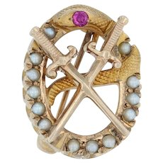 Theta Chi Badge - 10k Yellow Gold Pearls Synthetic Ruby Snake Pin Fraternity