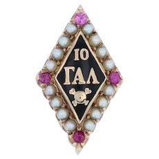 Gamma Alpha Lambda Badge - 10k Gold Pearls Synthetic Rubies Greek Skull Pin
