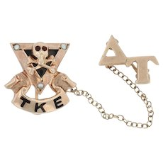 Tau Kappa Epsilon Badge - 10k Gold Pearls Skull TKE Fraternity Pin
