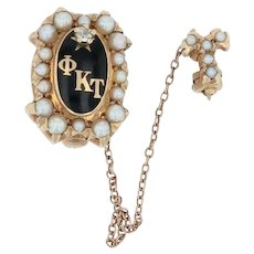Phi Kappa Tau Badge - 14k Yellow Gold Diamond Pearls Greek Fraternity Pin 1925