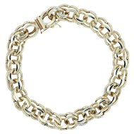 "Double Link Charm Bracelet 7.5"" - 10k Yellow Gold 9.1mm Plunger Clasp Statement"