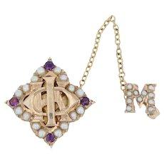 Phi Kappa Badge 10k Gold Pearls Amethysts Catholic Fraternity Vintage Greek Pin