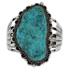 Turquoise Statement Cuff Bracelet Sterling Silver Native American Artisan Signed