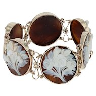 "Vintage Cameo Flower Bouquet Link Bracelet 7"" - 14k Yellow Gold Carved Shell"