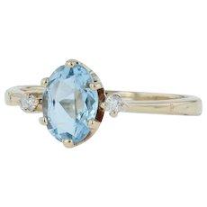 .79ctw Aquamarine & Diamond Ring - 14k Yellow Gold Size 5.25 March 3-Stone