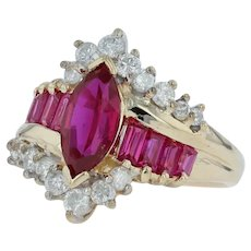2.66ctw Synthetic Ruby & Diamond Cocktail Ring - 14k Yellow Gold Size 6.5 Pink