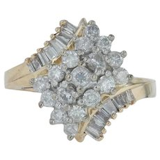 1ctw Diamond Cluster Ring - 14k Yellow Gold Bypass Cocktail Size 6.5