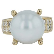 13mm Pearl & .55ctw Diamond Cocktail Ring - 18k Yellow Gold Size 6.5-6.75 Chunky