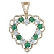 .58ctw Diamond & Emerald Heart Pendant - 14k Yellow Gold Open Cut Love May